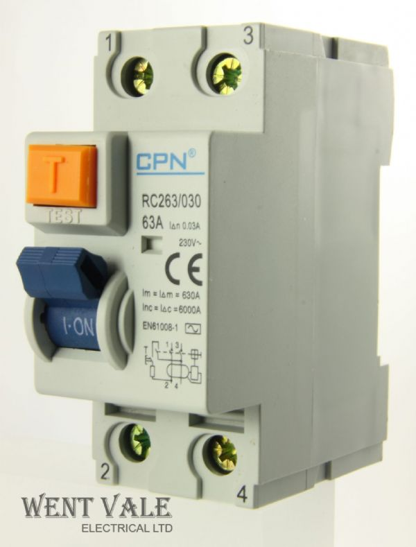 Cudis CPN - RC263/030 - 63a 30mA Double Pole RCD New In Box